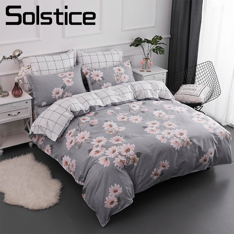 Solstice Home Textile Queen Twin Bedding Sets 100% Cotton Girl Kid Teen Linen Flower Gray Duvet Quilt Cover Pillowcase Bed Sheet