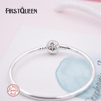 FirstQueen Solid 925 Sterling Silver Bangle With Star Clasp Fit Charms Bracelets For Jewelry Making Fine Jewelry
