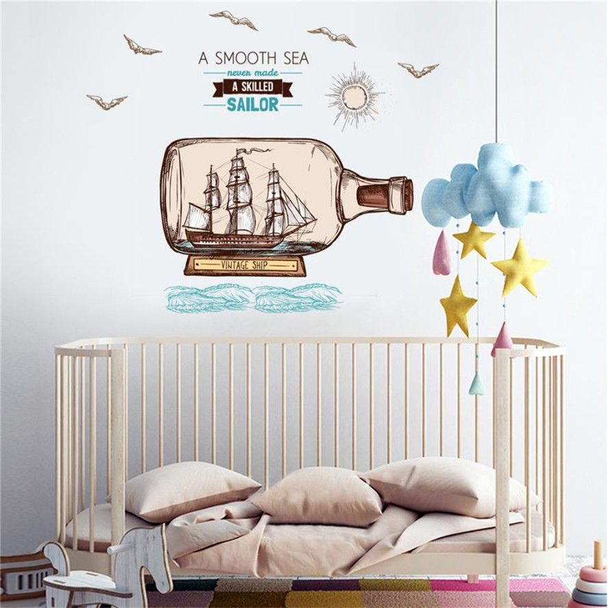 New 1pc Rafting bottle wall stickers DIY Cartoon House Removable Wall Decal Family Home Sticker Mural Art Home Decor stickers