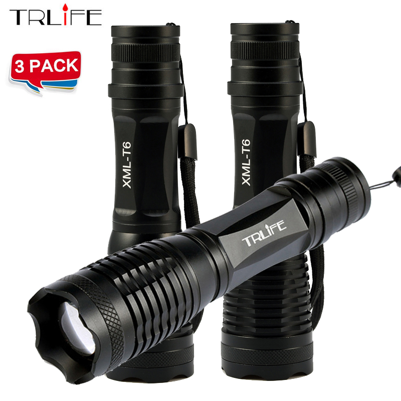 1/2/3 PCS/Lot CREE XM-L T6/L2 8000LM cree led Torch Zoomable CREE LED Flashlight Torch light For 3xAAA or 1x18650 Battery