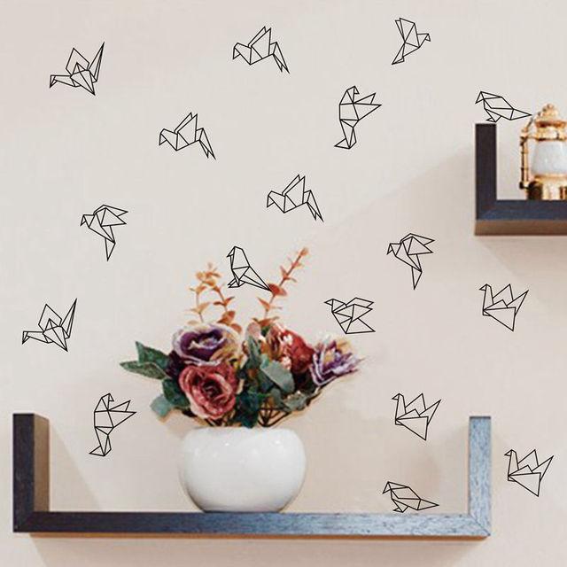 4e4286ff00 Geometric Origami Birds Wall Decals Nursery Art Decor , Geometric Flying Birds  Vinyl Wall Stickers Living Room Modern Wall Decor