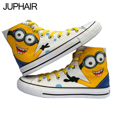 JUP Cartoon Men Shoes High Despicable Me Minions Pattern Hand Painted Canvas Shoe Flat for Men Males Boys Kid High Lace-Up Shoes