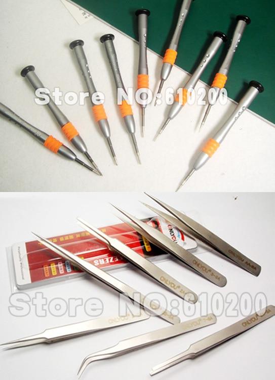 ФОТО 9/PCS professional Precision Multifunction screwdriver set tools kit+7/PCS Tweezers set for SAMSUNG Iphone4S/5/5S HTC
