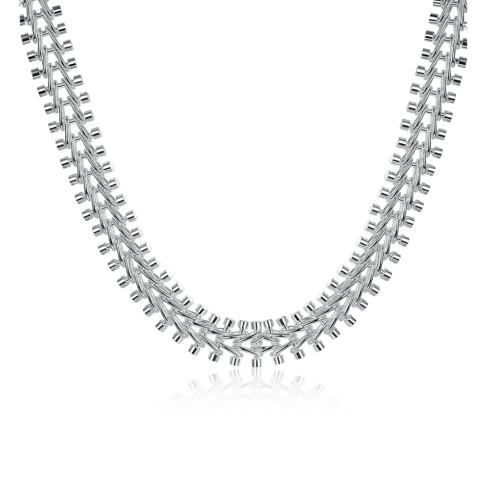 Fishbone Necklace 18 Inch Fashion Water Drop Silver Rolo Necklace 925 Sterling Silver Chain