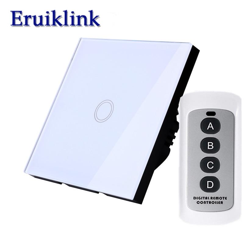 EU/UK Standard wall switch,1 Gang 1 Way Glass Panel RF433 Remote Control Light Switch+LED backlight Comaptible Broadlink Pro цена