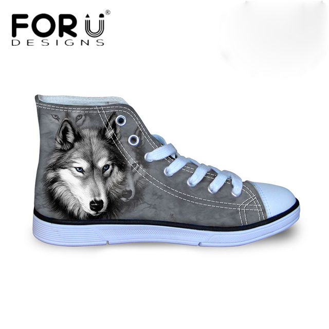 FORUDESIGNS Fashion Mens Vulcanized Shoe 3D Animals Wolf High Top Shoes,Pet Dog Husky Print Flats Man Canvas Shoes Male Footwear