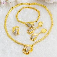 Liffly Nigerian Bridal Jewelry Set Flower Pendant Necklace Set Dubai Gold Jewelry Sets for Women African Wedding Jewelry цены онлайн