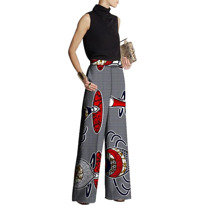 African Fashion Women Pants Loose Design African Clothes Wide Leg Pants Customized Ladies Dashiki Print Trousers