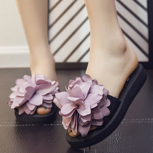 100% Handmade Flowers Woman Beach Shoes 2017 Hot Summer New Peep Toe Flats Women Slippers Slides