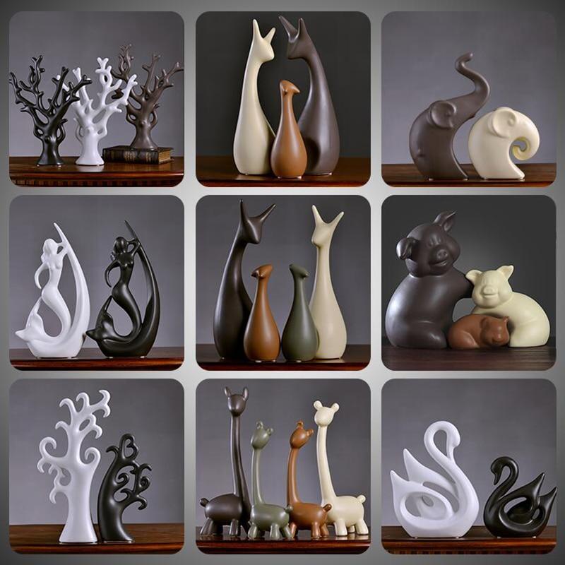 Modern Ceramic Small Ornaments Crafts Home Livingroom TV Cabinet Accessories Decoration Hotel Office Desktop Figurines Craftwork