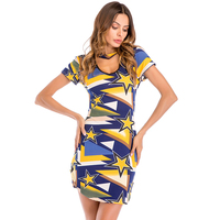 Midi Bandage Dress Women Patchwork Yellow Vintage Summer Casual Elegant Star Dresses Plus Size1960 S Summer