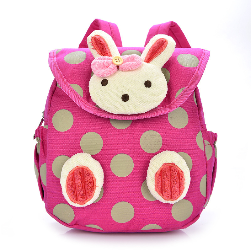 1pcs free shipping chidren casual plush backpack unisex zipper school backpack cartoon small rabbit or bear kid school bag
