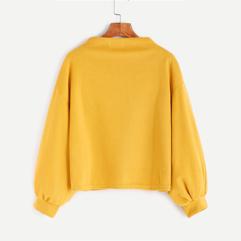 HTB1P9QaSXXXXXX9XVXXq6xXFXXXg - Funnel Neck Sleeve Lighthouse Patch Sweat Shirt Autumn Yellow Jerseys Ladies' Neck Long Shirts JKP014