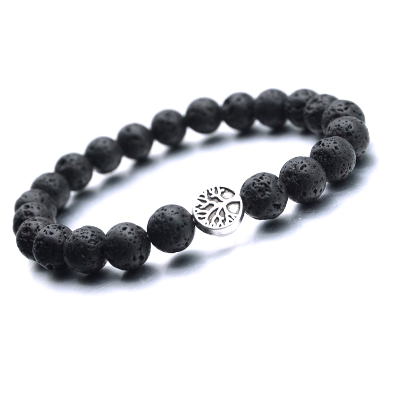 25 Styles Tree of Life <font><b>Paw</b></font> Charms 8mm Black Lava Stone Beads Aromatherapy Essential Oil Diffuser <font><b>Bracelet</b></font> Yoga Strand Jewelry image