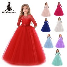 Free Shipping Ankle Length Kids Party Dresses 2019 New Design Three Quater Sleeves Flower Girl Dress Children Princess Ball Gown