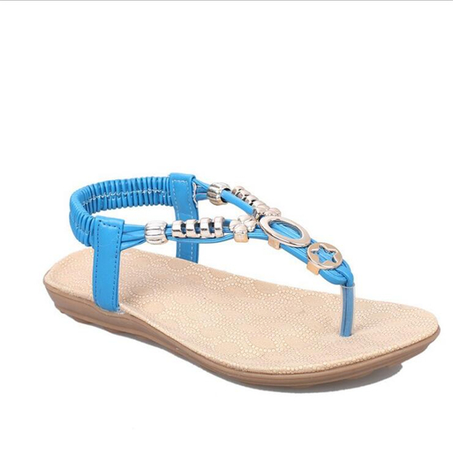 2017 New  fashion summer  Bohemia Beaded heringbone pinch  sandals soft  comfy  women's  flat with beads  For Women .HYKL-518