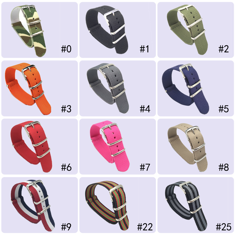 18 20 22 24 mm Brand Army Sports nato fabric Nylon watchband accessories Bands Buckle belt For 007 James bond Watch Strap black