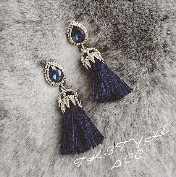 Versión coreana Del Nuevo Y Elegante Azul Marino de Cristal Mosaico Modelos Feme