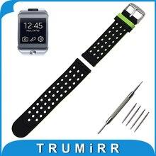 22mm caucho de silicona watch banda lateral doble uso de para samsung galaxy gear 2 r380 neo r381 vivo r382 correa de pulsera pulsera de la correa