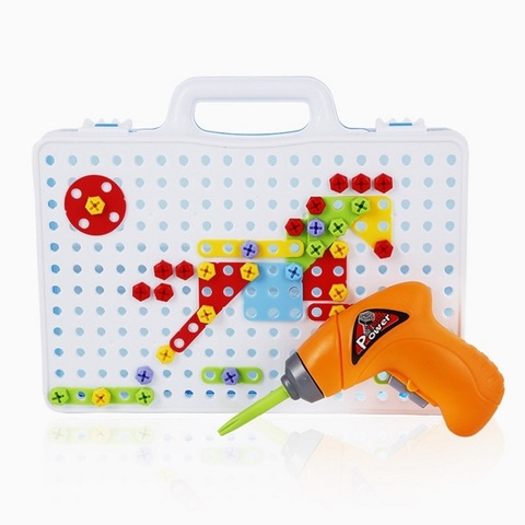 criancas ferramenta de broca eletrica brinquedos parafusos quebra cabeca construcao brinquedo broca brinquedos educativos criativos