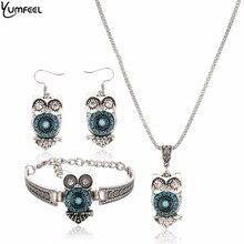 Yumfeel Brand Owl Jewelry Set Tibetan Vintage Silver Synthetic Blue Stone Pendant Owl Bracelet Necklace Earring Sets for Women
