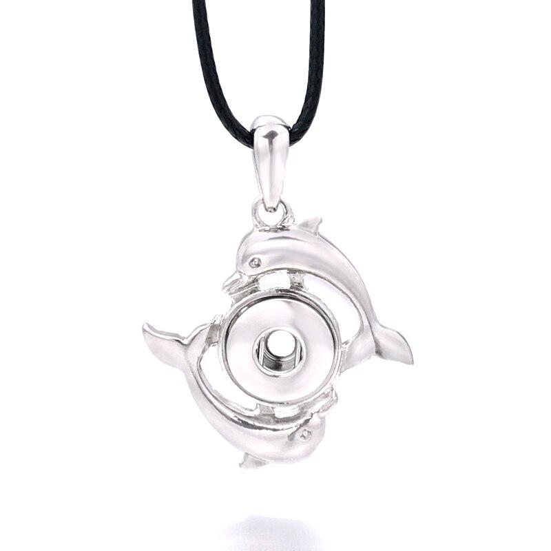 Модный сменный Дельфин Кристалл имбирное ожерелье 238 Fit 12 мм кулон с кнопкой ожерелье Шарм ювелирные изделия для женщин подарок