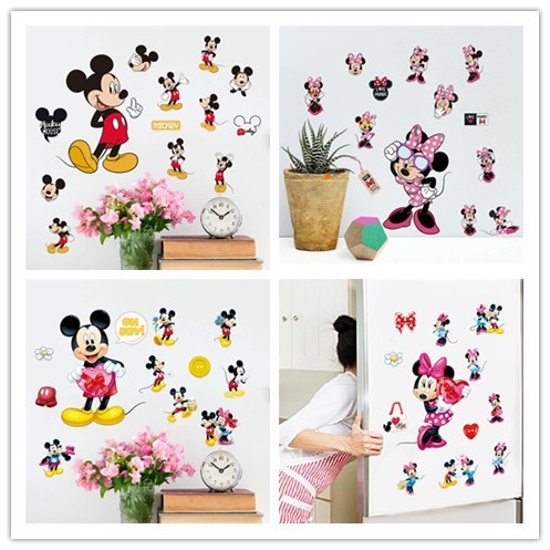 Cartoon Mickey Minnie Mouse balloon wall stickers decals or kids room baby bedroom wall art nursery amusement park poster