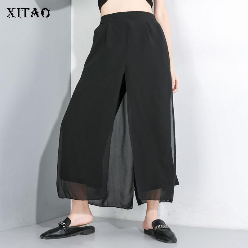 XITAO Chiffon Perspective   Pants   Women Korea Fashion False Two Piece High Waist Patchwork 2019 Summer   Wide     Leg     Pants   WLD1836
