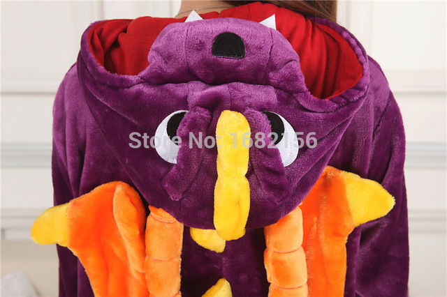 Kigurumi New Unisex Purple Spyro Sleepwear Dragon Dinosaur Pajamas Adult Animal Onesies Cosplay Costume Sleepsuit Cute