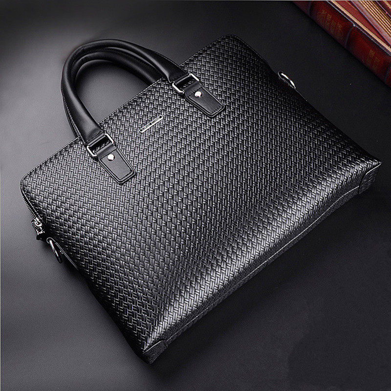New Luxury Woven Pattern Cowhide Male Commercial Briefcase/Genuine Leather Fashion Men's Messenger Bag/Casual Men's Busienss Bag