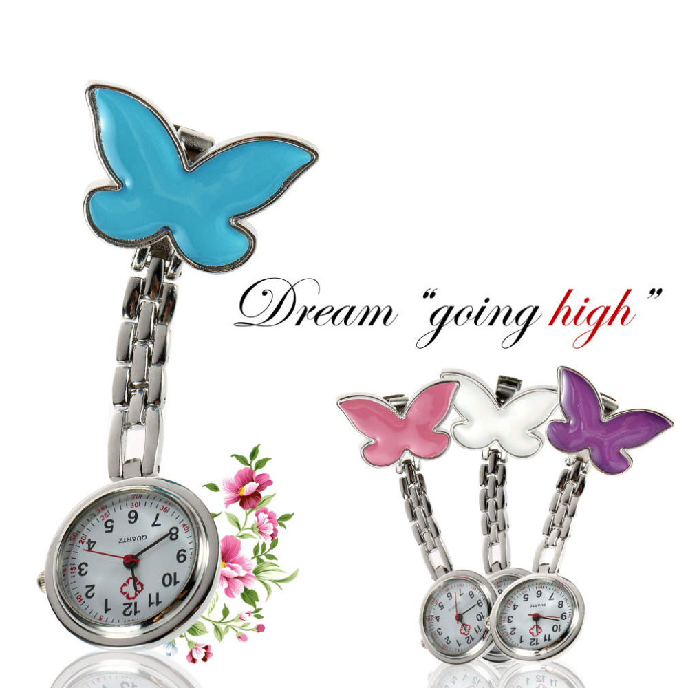 Stainless Steel Nurse Pocket Fob Watch Butterfly Shape Antique Silver Medical Doctor Brooch Quartz Analog Pendant Watch