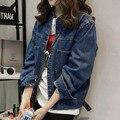 Новая Женская Короткий Стиль Джинсовые Куртки Вскользь Плюс Размер 3 4 5 XL Воротник Свободные Однобортный Пиджак Синий NZHY04