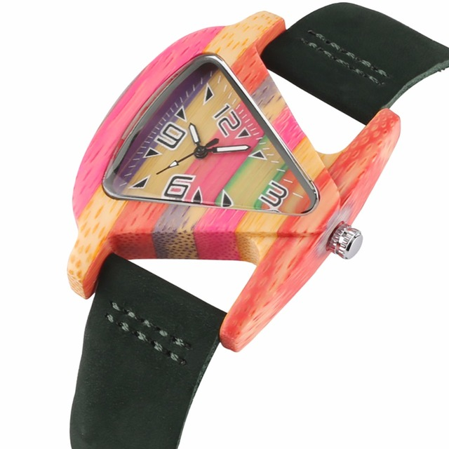 Creative Women Wood Watches Unique Colorful Wooden Triangle Hollow Quartz Wristwatch Ladies Elegant Fashion Genuine Leather Hour 2