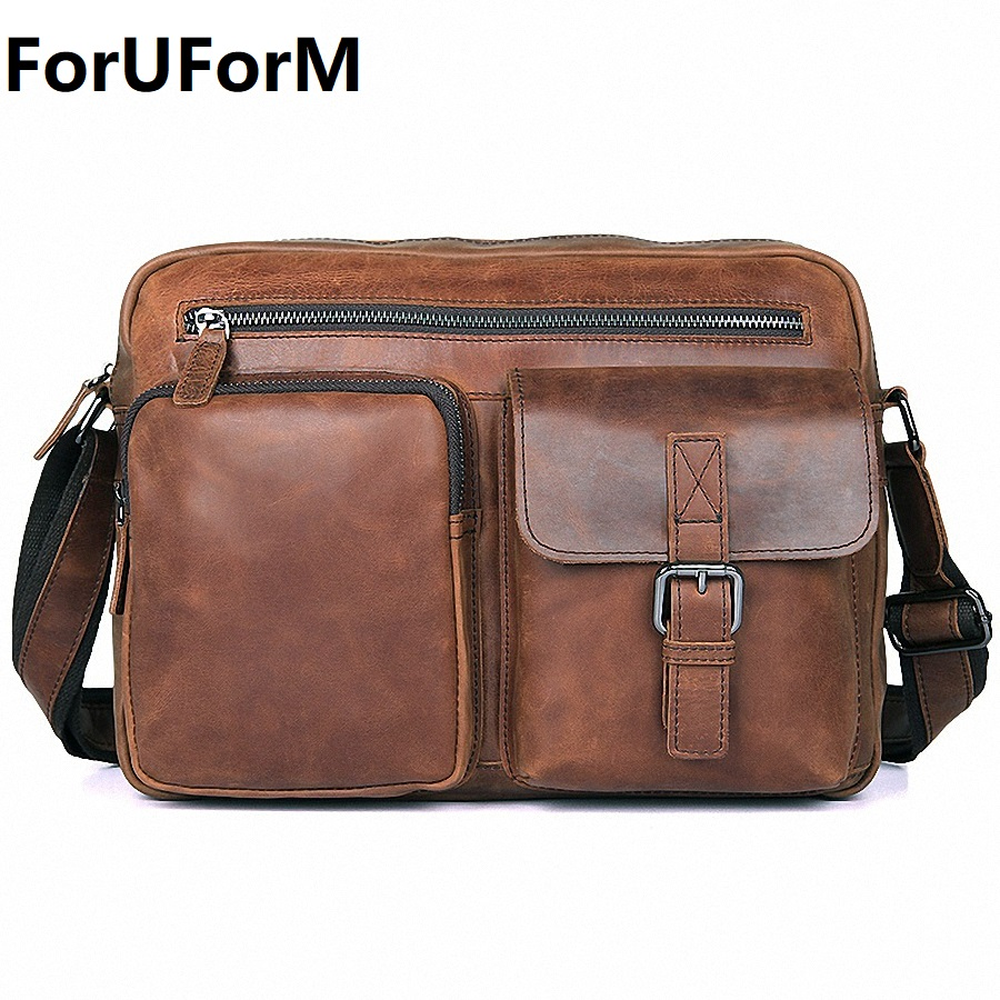 100% Genuine Leather Men Bag Fashion Men's Messenger Bags Male Flap Cowhide Leather Bag Shoulder Crossbody Bags Handbags LI-2032 neweekend genuine leather bag men bags shoulder crossbody bags messenger small flap casual handbags male leather bag new 5867