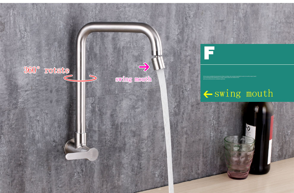 rotate water mouth kitchen sink faucet wall install brushed surface 304 stainless steel