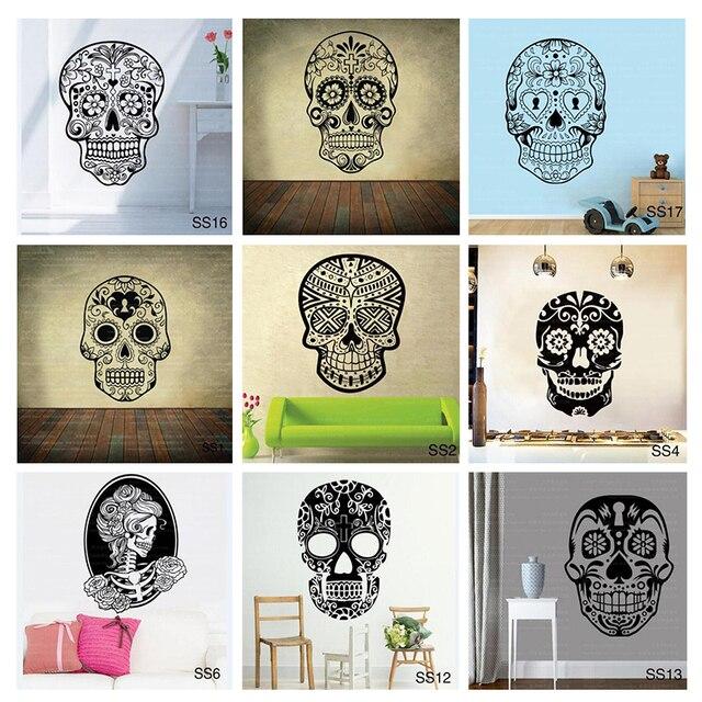 Mexican Sugar Skull office stickers dia de los muertos Vinyl Wall ...