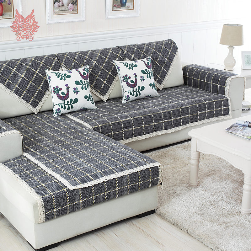 British style dark grey plaid cotton linen sofa cover lace decor ...