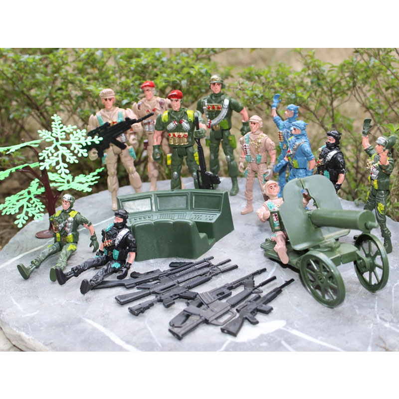 Action & Toy Figures Wwii Military Base 23pcs/set 11cm Soldier Military Sand Table Model Model Static Model Boys Christmas Gift Small Backpack A Complete Range Of Specifications