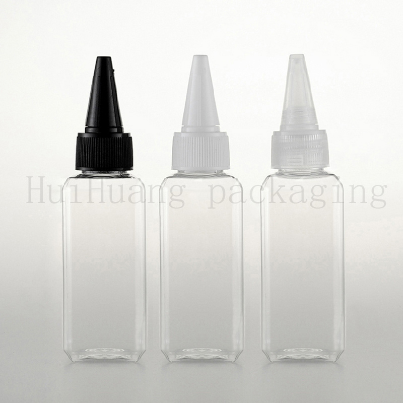 100X50ml empty clear square plastic PET water container with pointed cap E liquid plastic bottles Shower