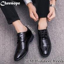26ba3f802 زيادة 6 سنتيمتر الرجال اللباس أحذية أكسفورد البريطانية نمط المخفية الكعوب 5  سنتيمتر وأشار اصبع القدم الزفاف الرسمي عارضة الأعمال.