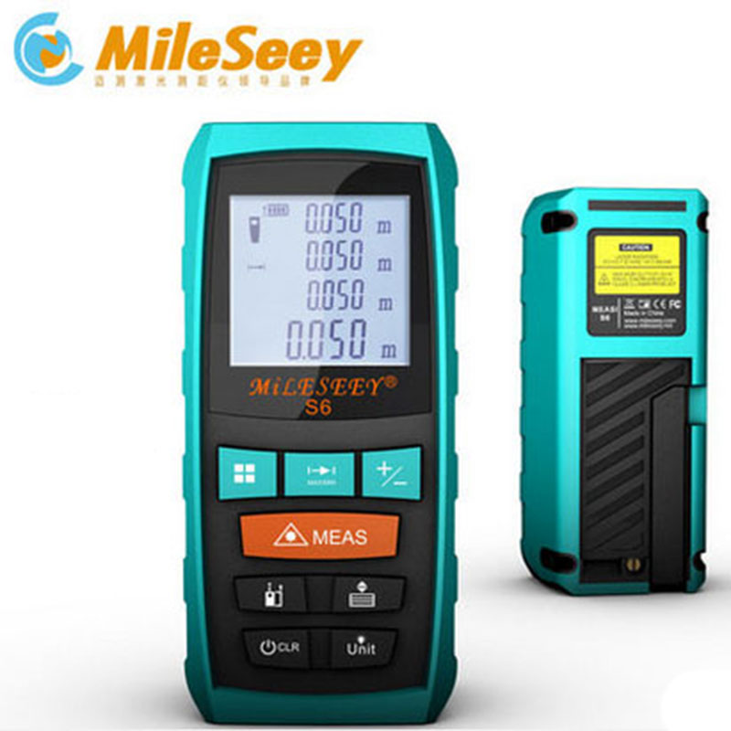 Mileseey Laser Rangefinder S6 New Laser Distance Meter Blue Digital Range Finder Measure with Angle measurement 40M 60M 80M 100M laser range finder 40m 60m 80m 100m digital laser distance meter tape area volume angle engineer measure construction tools