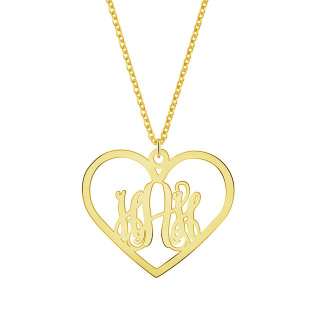 venta más caliente varios estilos bien fuera x Corazón personalizado monograma letra nombre Collares para mujeres  gargantilla collar Acero inoxidable Kolye mejor regalo BFF