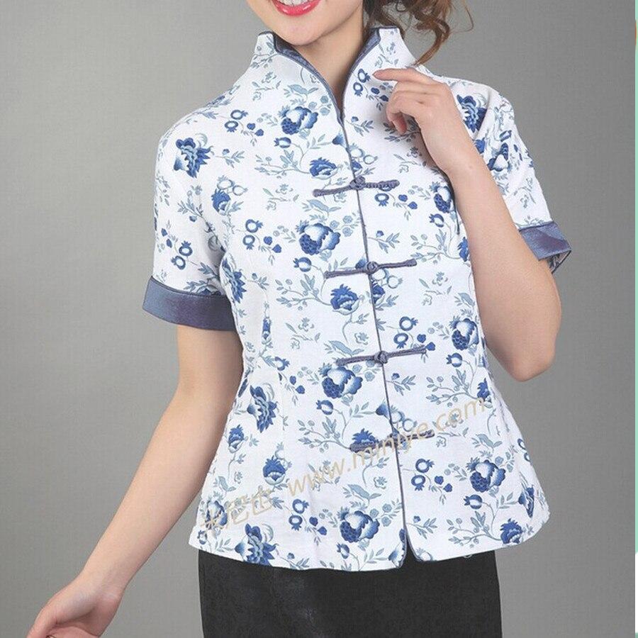 Blanco estilo chino tradicional ropa de algodón con cuello en v camisa de las mu