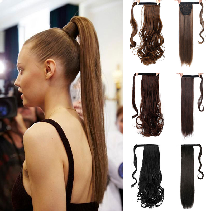 MSTN 24 Inches Long Wrap On Synthetic Straight Ponytails For Women Natural Clip In Hair Extension Hairpieces Blonde False Hair