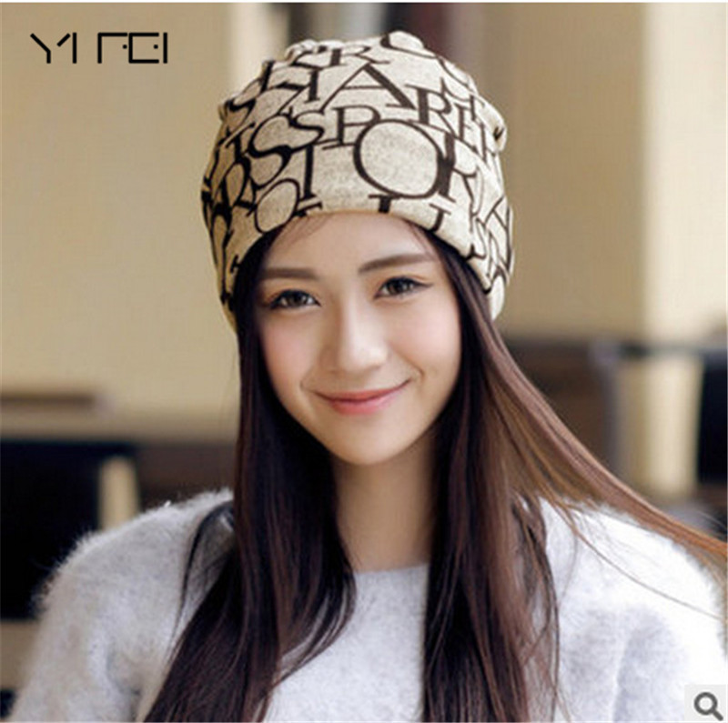 YIFEI Spring Letter Hip Hop Hats Touc Women's Hats Adjustable Size   Beanie   Girls   Skullies   Winter Hats For Female Autumn Thin Hat