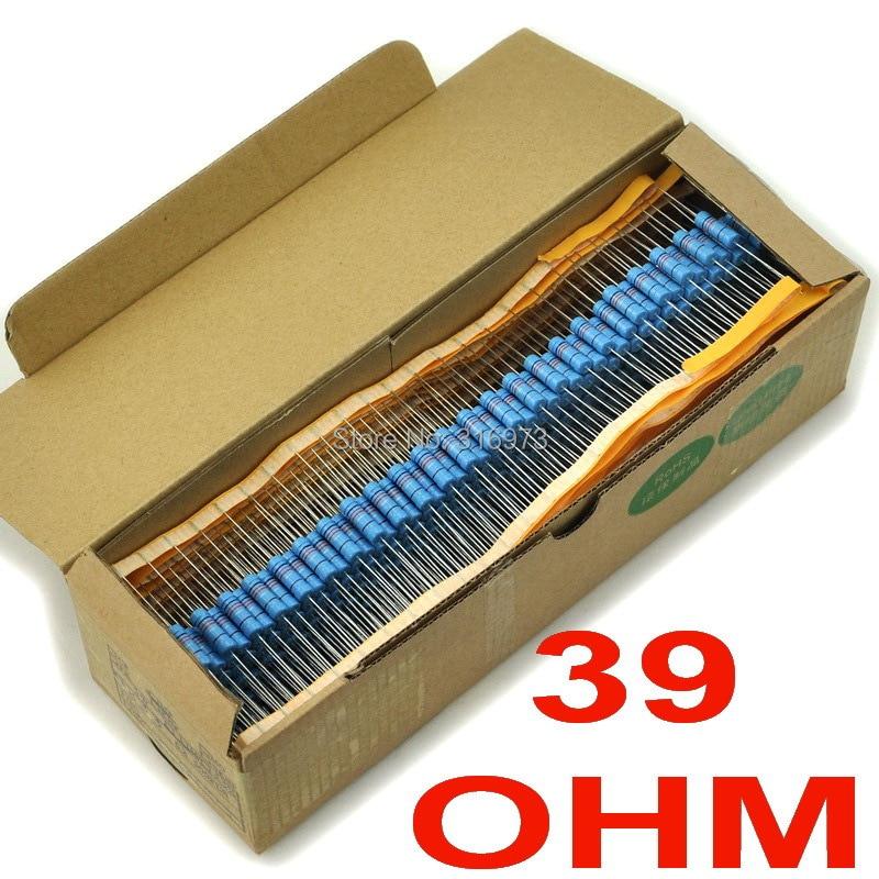 (500 шт./лот) 39 Ом 1% Металл Плёнки Резисторы 3 Вт, 3 Вт
