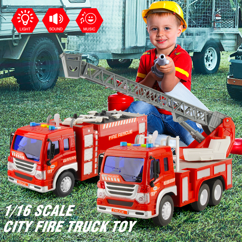 GizmoVine 1/16 Inertial Fire truck toy car 2pcs/set Inertial Fire Fighting Truck Car Boys Toys for Children Gift
