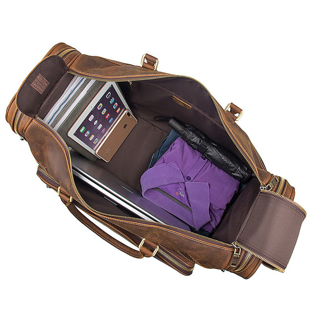 High-capacity vintage genuine leather travel bag  handbags shoulder bag Men's Duffle Travel Bags high capacity travel totes 5