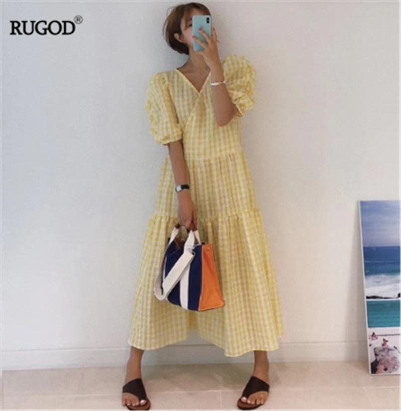 RUGOD 2019 korea summer women v neck vinatge plaid puff sleeve dresses pullover casual lady cotton vestidos
