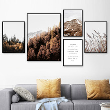 Snow Mountain Reed Forest Landscape Wall Art Canvas Painting Nordic Posters And Prints Pictures For Living Room Home Decor